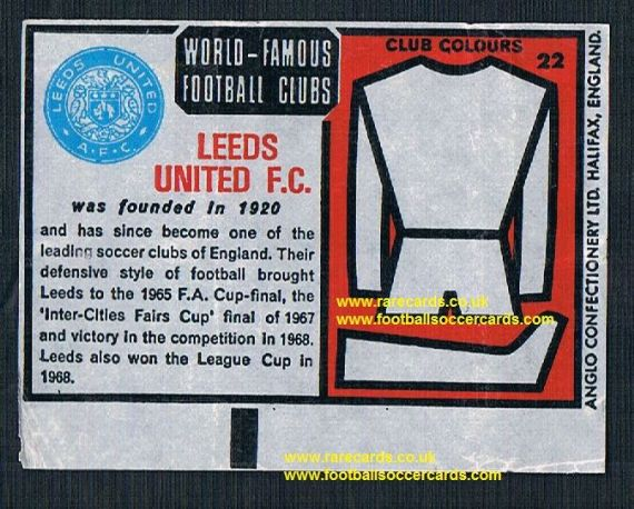 1970 Anglo Gum waxy paper insert World Famous Football Clubs Leeds United